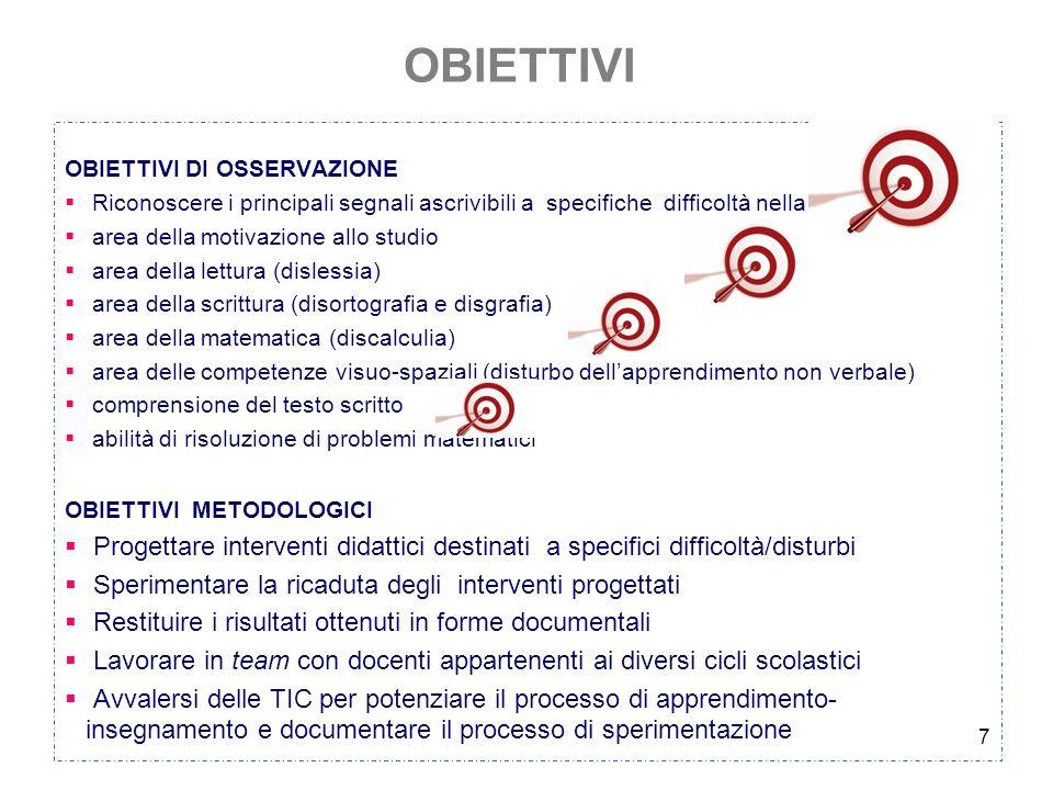 7 OBIETTIVI OBIETTIVI DI OSSERVAZIONE Riconoscere i principali segnali ascrivibili a specifiche difficoltà nella area della motivazione allo studio ar