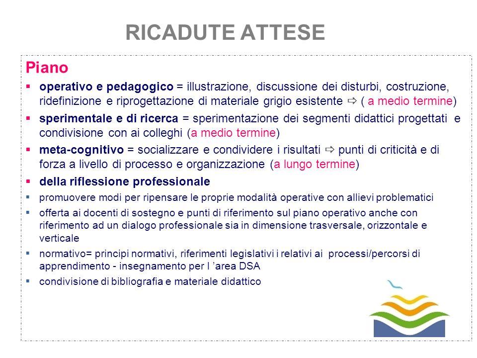 8 RICADUTE ATTESE Piano operativo e pedagogico = illustrazione, discussione dei disturbi, costruzione, ridefinizione e riprogettazione di materiale gr
