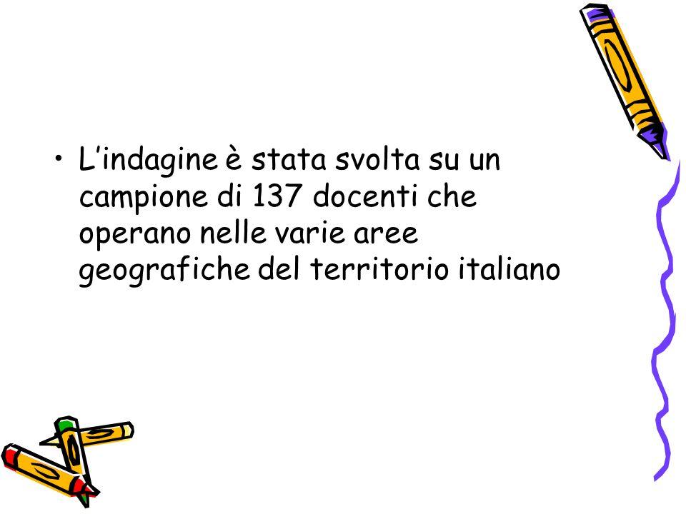 Lindagine è stata svolta su un campione di 137 docenti che operano nelle varie aree geografiche del territorio italiano