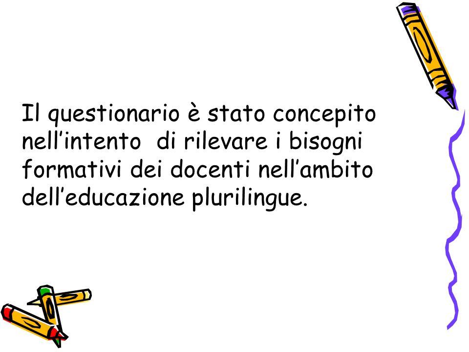 Il questionario è stato concepito nellintento di rilevare i bisogni formativi dei docenti nellambito delleducazione plurilingue.