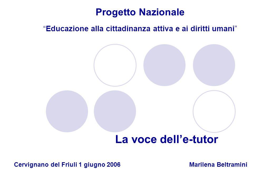 Progetto NazionaleEducazione alla cittadinanza attiva e ai diritti umani La voce delle-tutor Cervignano del Friuli 1 giugno 2006 Marilena Beltramini