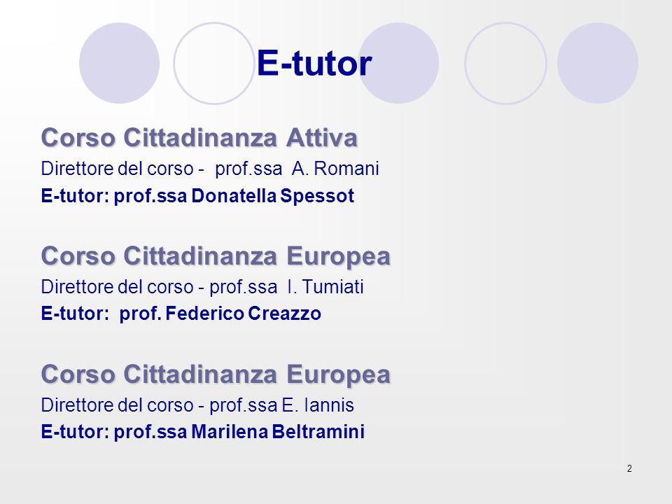 2 E-tutor Corso Cittadinanza Attiva Direttore del corso - prof.ssa A. Romani E-tutor: prof.ssa Donatella Spessot Corso Cittadinanza Europea Direttore