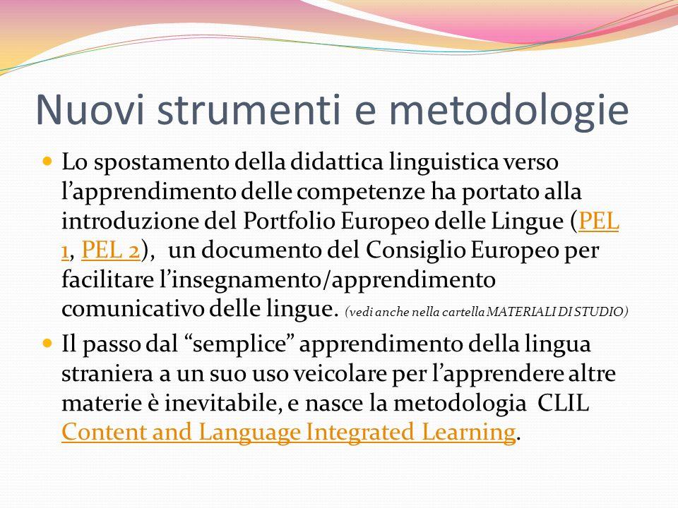 Nuovi strumenti e metodologie Lo spostamento della didattica linguistica verso lapprendimento delle competenze ha portato alla introduzione del Portfo
