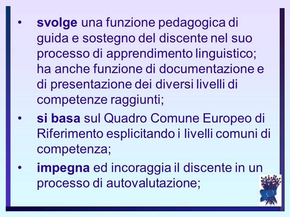 Principi del PEL è uno strumento che promuove il plurilinguismo ed il pluralismo culturale; è di proprietà del discente; valorizza le competenze lingu