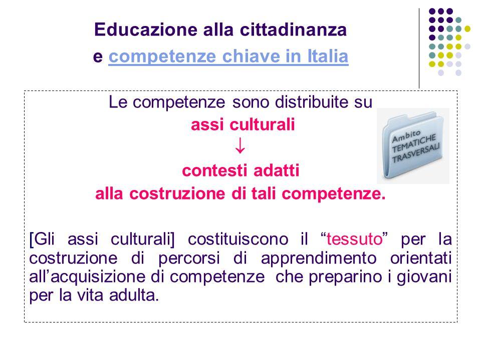 Educazione alla cittadinanza e competenze chiave in Italiacompetenze chiave in Italia Le competenze sono distribuite su assi culturali contesti adatti
