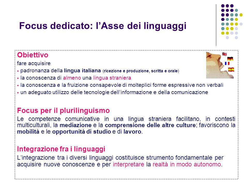 Focus dedicato: lAsse dei linguaggi Obiettivo fare acquisire padronanza della lingua italiana (ricezione e produzione, scritta e orale) la conoscenza