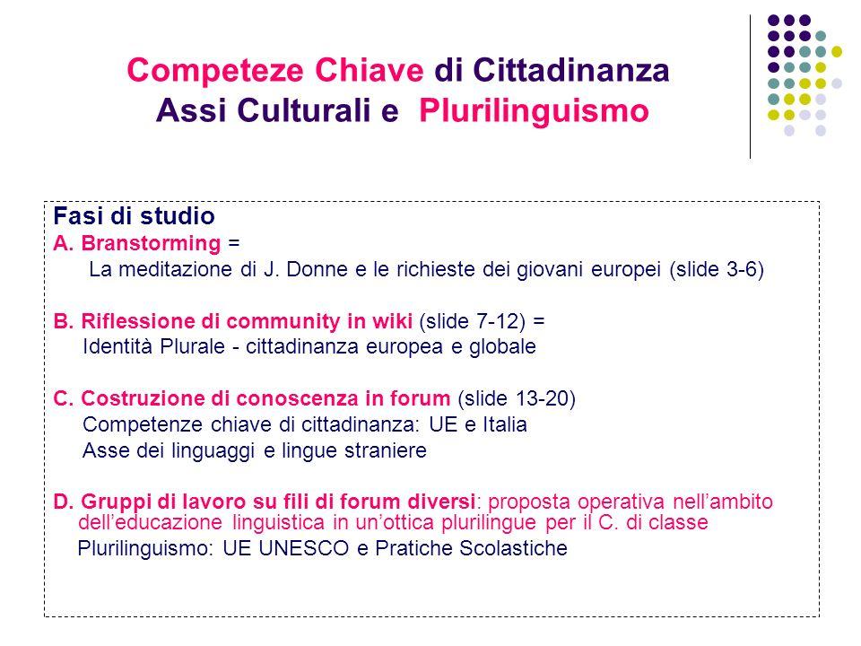 Competeze Chiave di Cittadinanza Assi Culturali e Plurilinguismo Fasi di studio A. Branstorming = La meditazione di J. Donne e le richieste dei giovan
