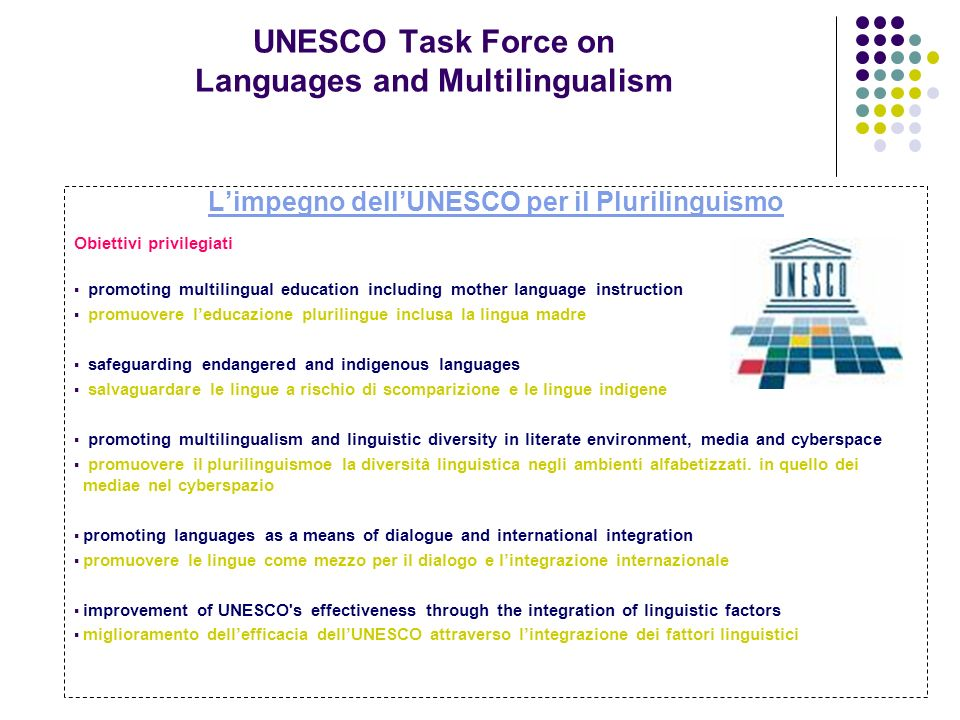 UNESCO Task Force on Languages and Multilingualism Limpegno dellUNESCO per il Plurilinguismo Obiettivi privilegiati promoting multilingual education i