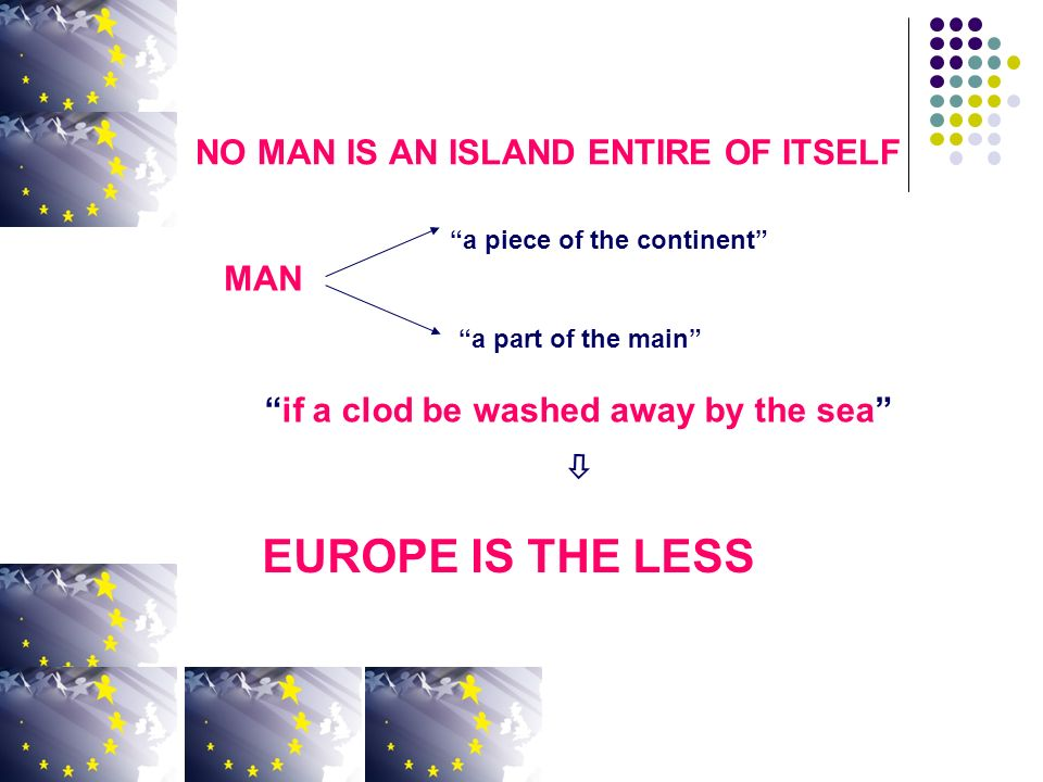 NO MAN IS AN ISLAND ENTIRE OF ITSELF a piece of the continent a part of the main if a clod be washed away by the sea EUROPE IS THE LESS MAN