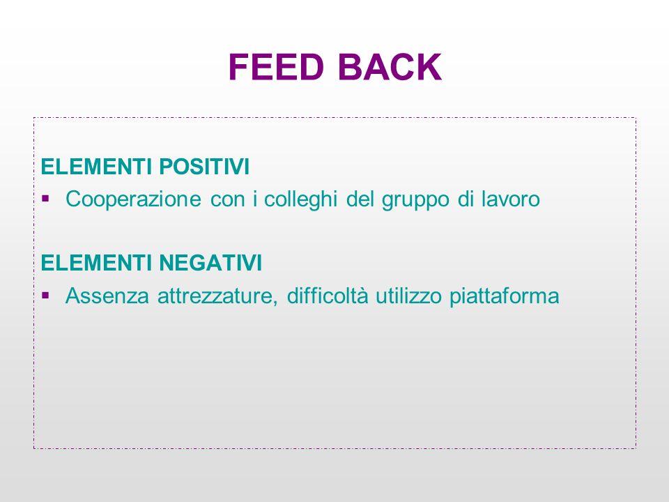 ELEMENTI POSITIVI Cooperazione con i colleghi del gruppo di lavoro ELEMENTI NEGATIVI Assenza attrezzature, difficoltà utilizzo piattaforma FEED BACK