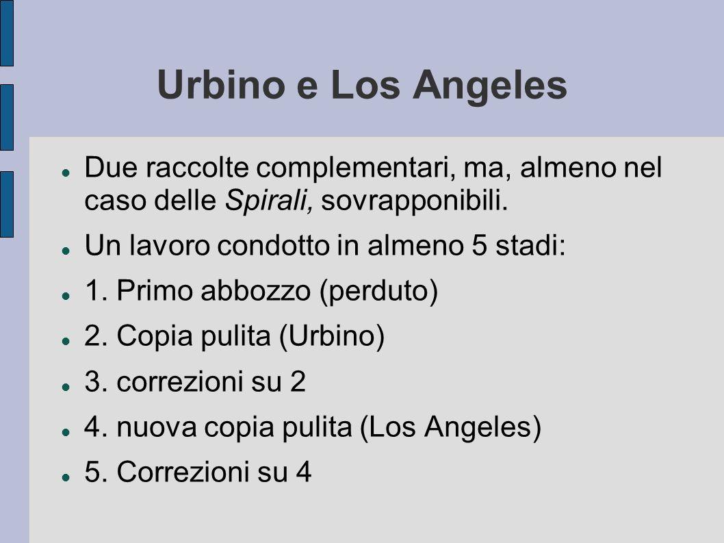 Urbino e Los Angeles Due raccolte complementari, ma, almeno nel caso delle Spirali, sovrapponibili. Un lavoro condotto in almeno 5 stadi: 1. Primo abb