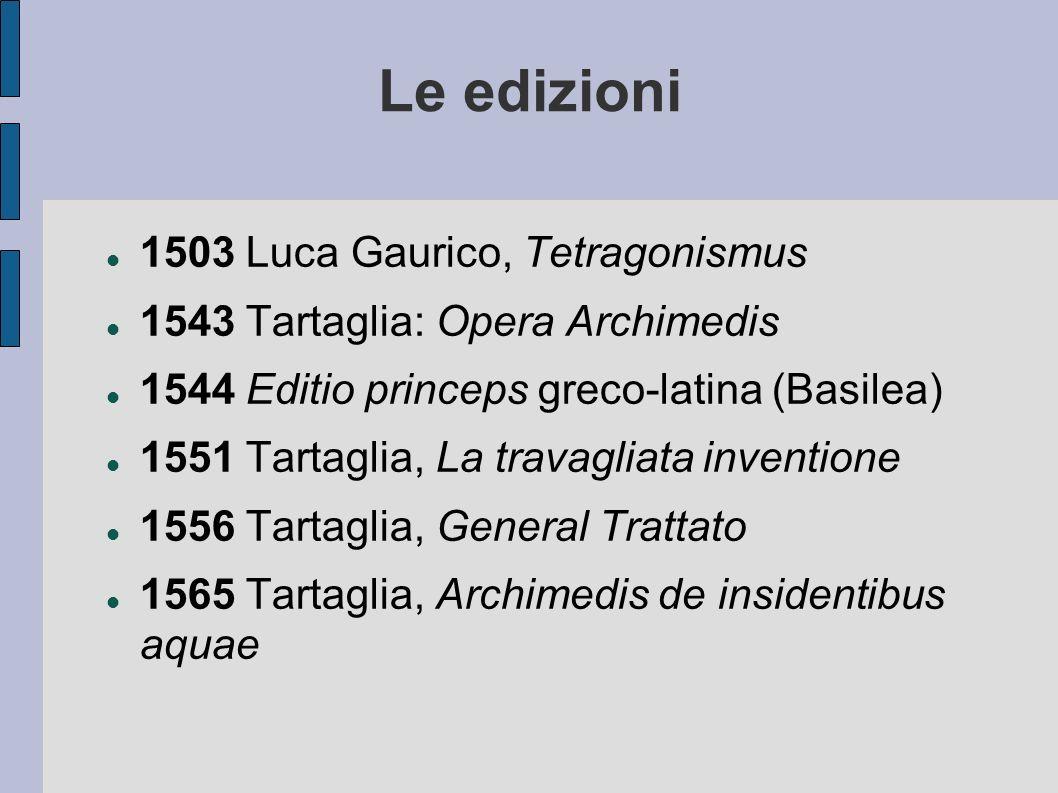Le edizioni 1503 Luca Gaurico, Tetragonismus 1543 Tartaglia: Opera Archimedis 1544 Editio princeps greco-latina (Basilea) 1551 Tartaglia, La travagliata inventione 1556 Tartaglia, General Trattato 1565 Tartaglia, Archimedis de insidentibus aquae