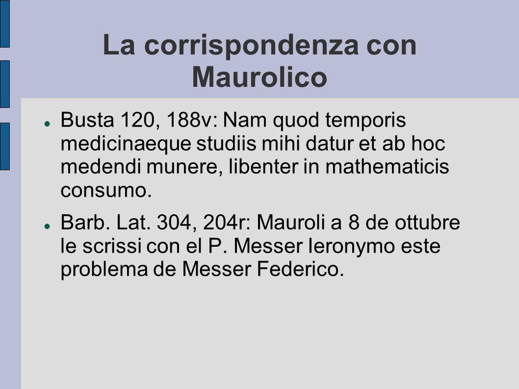 La corrispondenza con Maurolico Busta 120, 188v: Nam quod temporis medicinaeque studiis mihi datur et ab hoc medendi munere, libenter in mathematicis