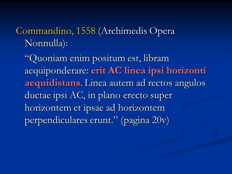 Commandino, 1558 (Archimedis Opera Nonnulla): Quoniam enim positum est, libram aequiponderare: erit AC linea ipsi horizonti aequidistans. Linea autem