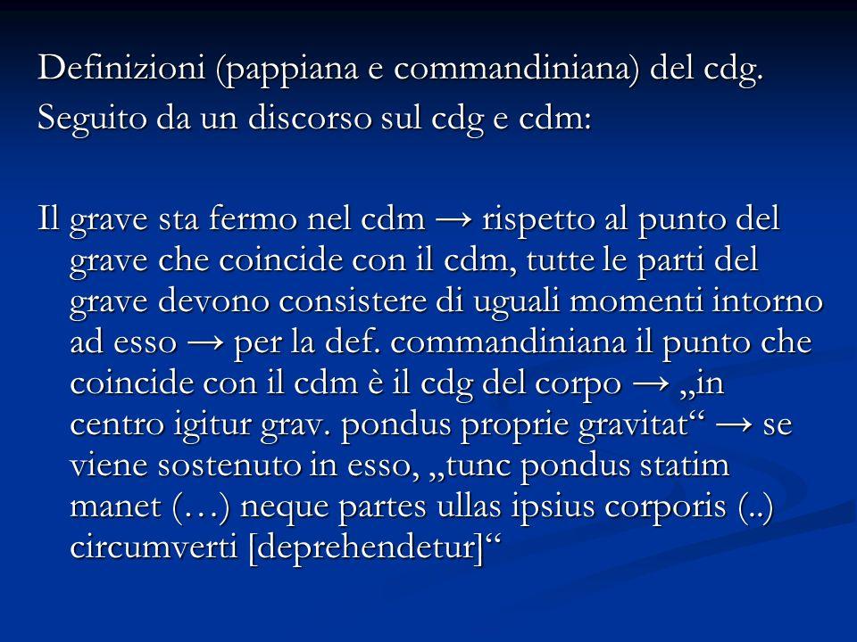 Definizioni (pappiana e commandiniana) del cdg. Seguito da un discorso sul cdg e cdm: Il grave sta fermo nel cdm rispetto al punto del grave che coinc
