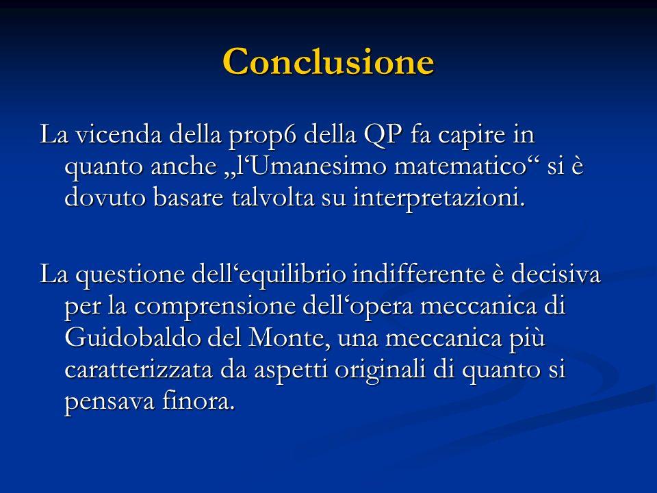 Conclusione La vicenda della prop6 della QP fa capire in quanto anche lUmanesimo matematico si è dovuto basare talvolta su interpretazioni. La questio