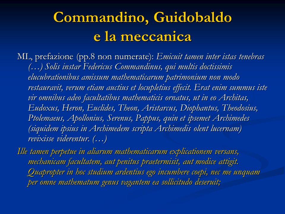 Le opere meccaniche di Guidobaldo 1577 Mechanicorum Liber (ML) 1588 Pubblicazione della Collectio matematica 1588 Parafrasi (PA) sullEquilibrio dei Piani di Archimede 1615 Cochlea attività scientifica dedicata al recupero della scienza antica.