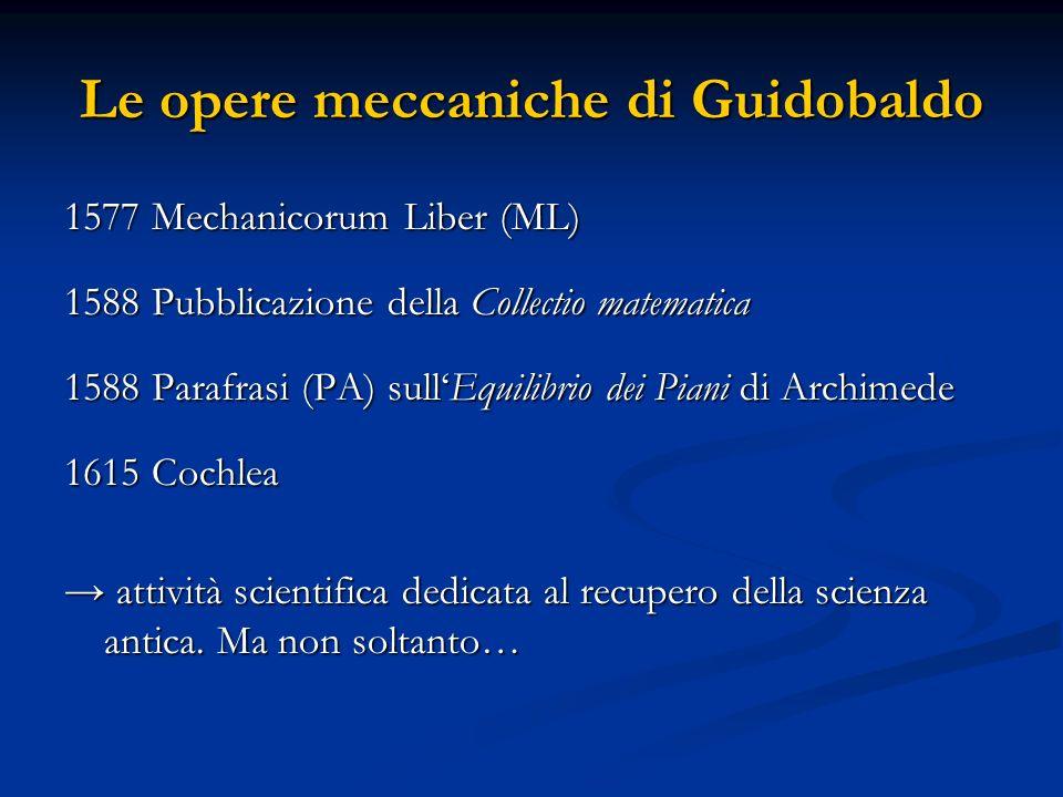 Le opere meccaniche di Guidobaldo 1577 Mechanicorum Liber (ML) 1588 Pubblicazione della Collectio matematica 1588 Parafrasi (PA) sullEquilibrio dei Pi