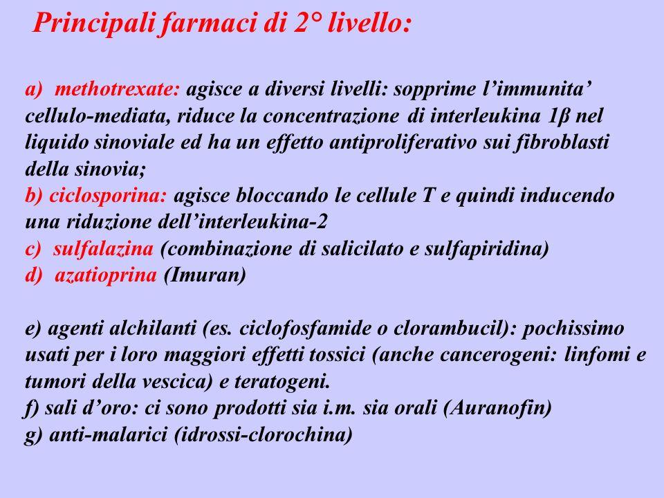 Principali farmaci di 2° livello: a) methotrexate: agisce a diversi livelli: sopprime limmunita cellulo-mediata, riduce la concentrazione di interleuk