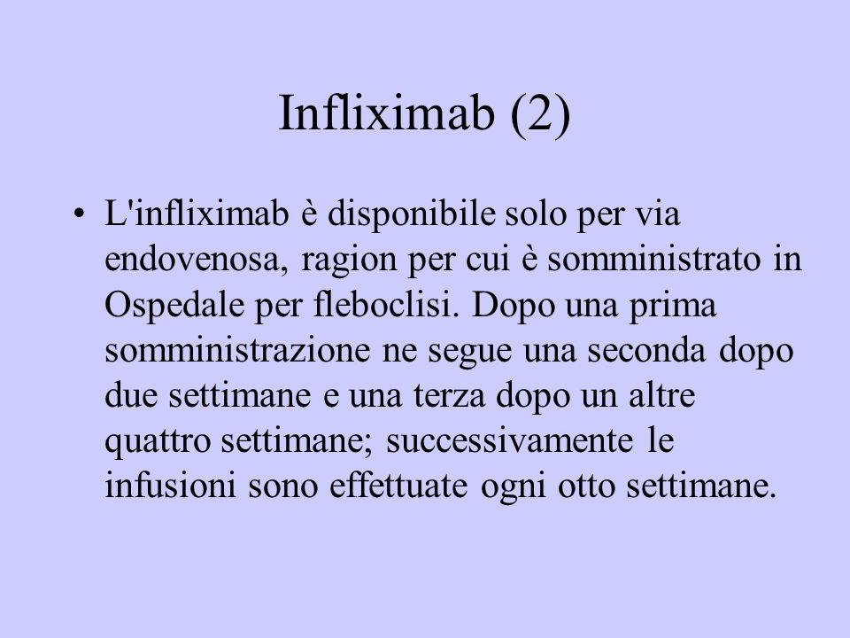 Infliximab (2) L'infliximab è disponibile solo per via endovenosa, ragion per cui è somministrato in Ospedale per fleboclisi. Dopo una prima somminist