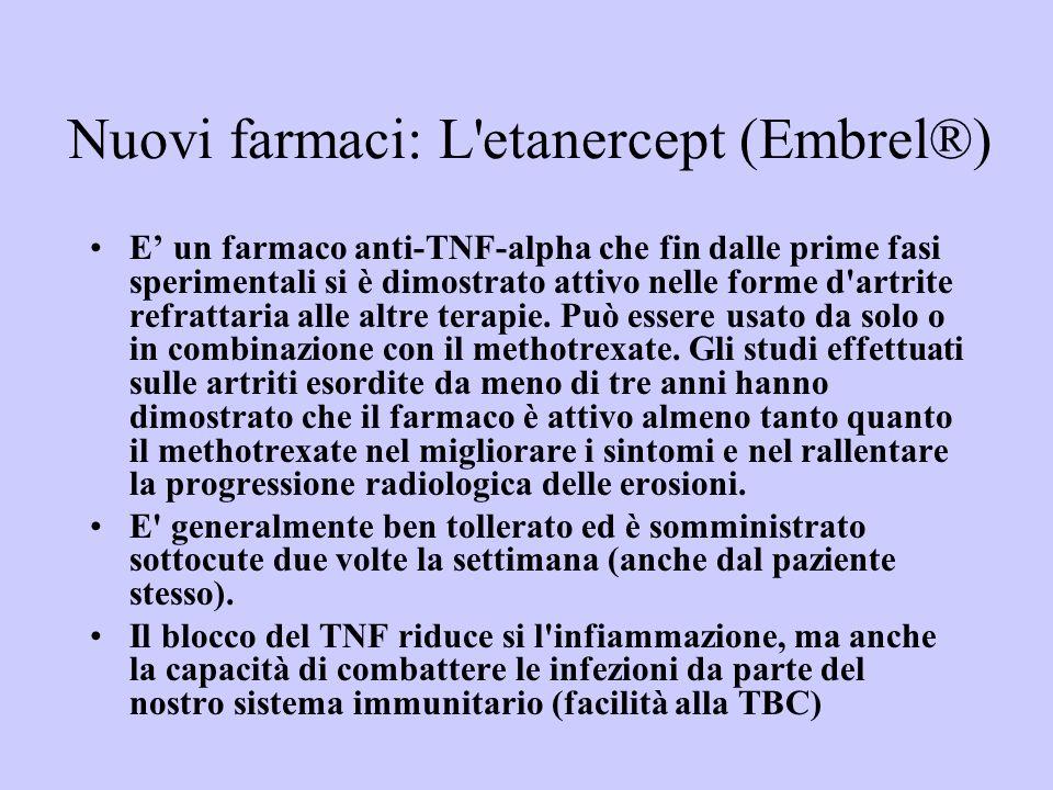 Nuovi farmaci: L'etanercept (Embrel®) E un farmaco anti-TNF-alpha che fin dalle prime fasi sperimentali si è dimostrato attivo nelle forme d'artrite r