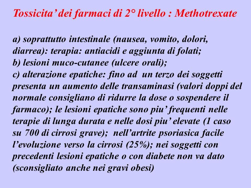 Tossicita dei farmaci di 2° livello : Methotrexate a) soprattutto intestinale (nausea, vomito, dolori, diarrea): terapia: antiacidi e aggiunta di fola