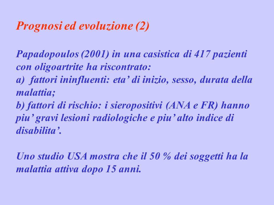 Prognosi ed evoluzione (2) Papadopoulos (2001) in una casistica di 417 pazienti con oligoartrite ha riscontrato: a) fattori ininfluenti: eta di inizio