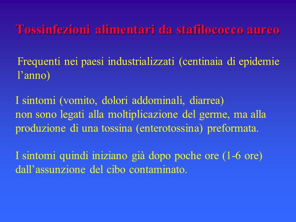Tossinfezioni alimentari da stafilococco aureo I sintomi (vomito, dolori addominali, diarrea) non sono legati alla moltiplicazione del germe, ma alla produzione di una tossina (enterotossina) preformata.