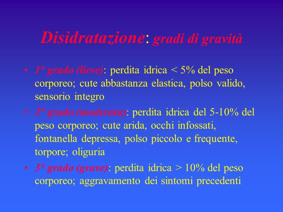 Disidratazione: gradi di gravità 1° grado (lieve): perdita idrica < 5% del peso corporeo; cute abbastanza elastica, polso valido, sensorio integro 2°