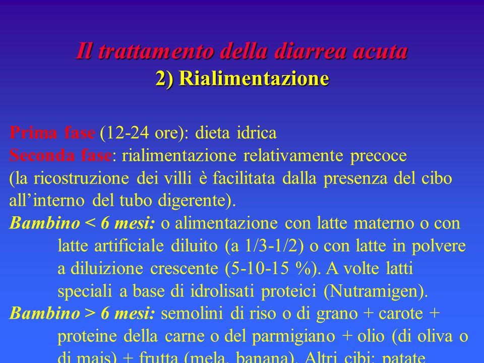 Il trattamento della diarrea acuta 2) Rialimentazione Prima fase (12-24 ore): dieta idrica Seconda fase: rialimentazione relativamente precoce (la ric