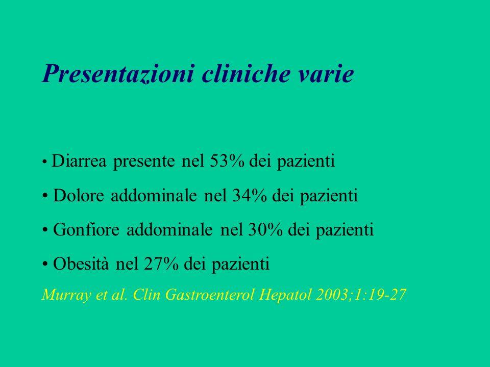 Presentazioni cliniche varie Diarrea presente nel 53% dei pazienti Dolore addominale nel 34% dei pazienti Gonfiore addominale nel 30% dei pazienti Obe