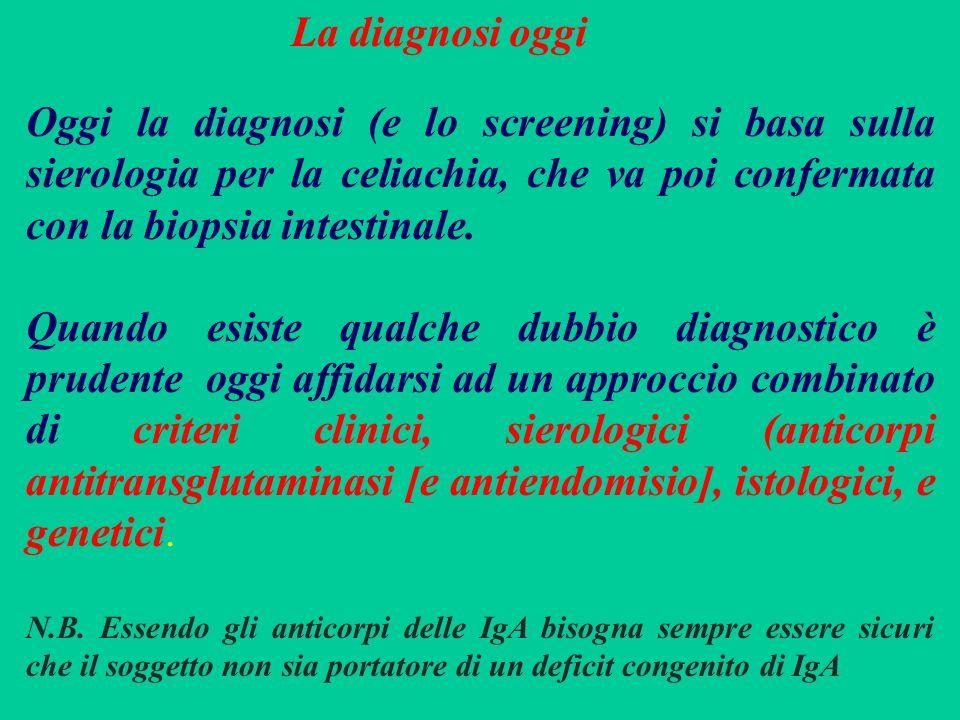 Oggi la diagnosi (e lo screening) si basa sulla sierologia per la celiachia, che va poi confermata con la biopsia intestinale. Quando esiste qualche d