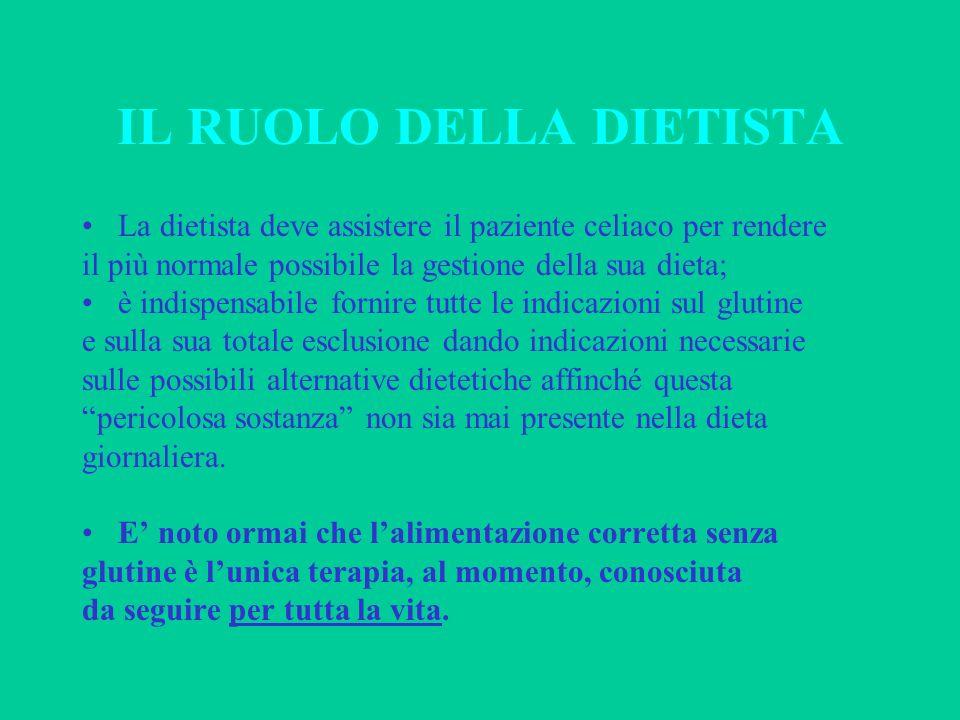 IL RUOLO DELLA DIETISTA La dietista deve assistere il paziente celiaco per rendere il più normale possibile la gestione della sua dieta; è indispensab