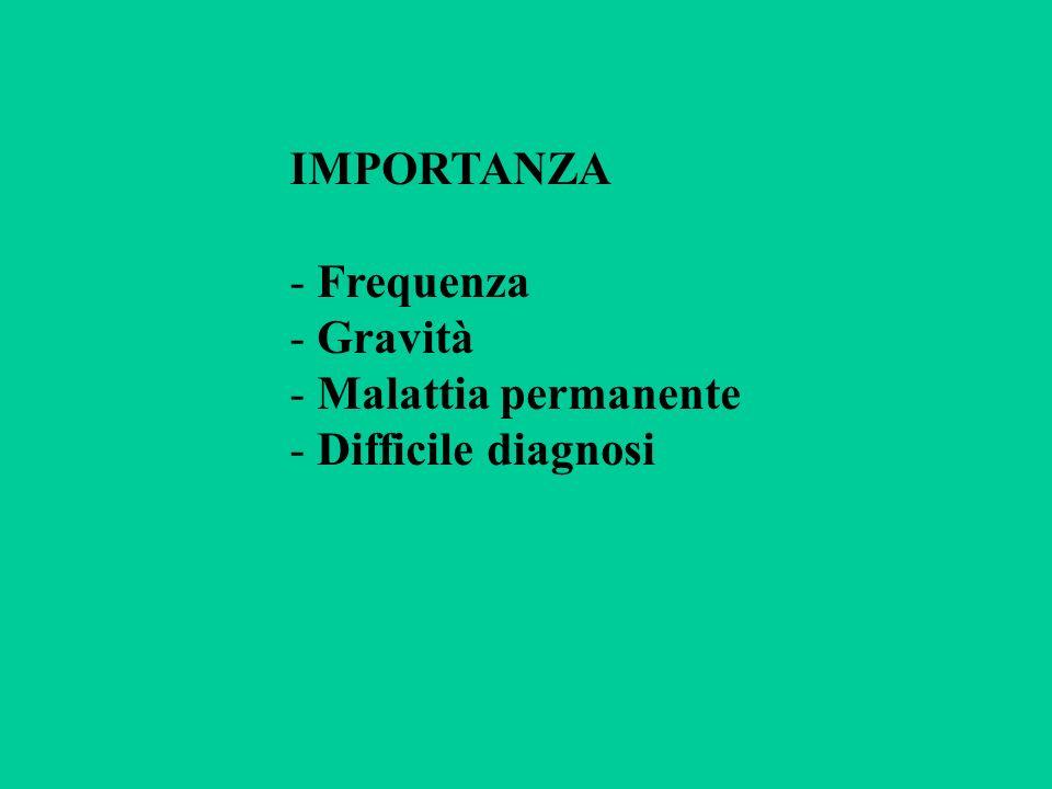 IMPORTANZA - Frequenza - Gravità - Malattia permanente - Difficile diagnosi