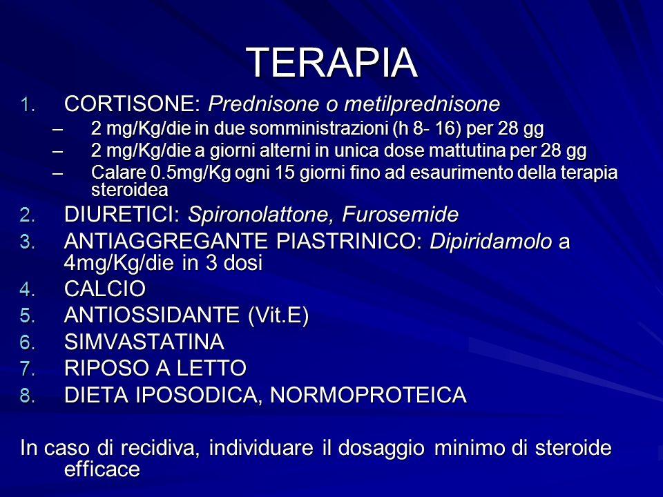 TERAPIA 1. CORTISONE: Prednisone o metilprednisone –2 mg/Kg/die in due somministrazioni (h 8- 16) per 28 gg –2 mg/Kg/die a giorni alterni in unica dos
