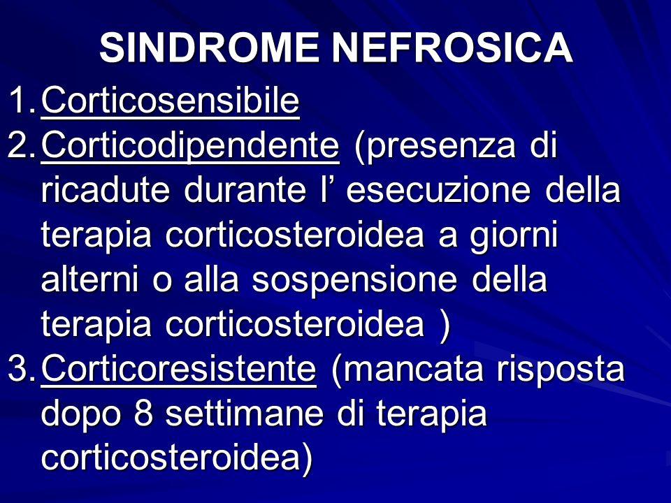 SINDROME NEFROSICA 1.Corticosensibile 2.Corticodipendente (presenza di ricadute durante l esecuzione della terapia corticosteroidea a giorni alterni o