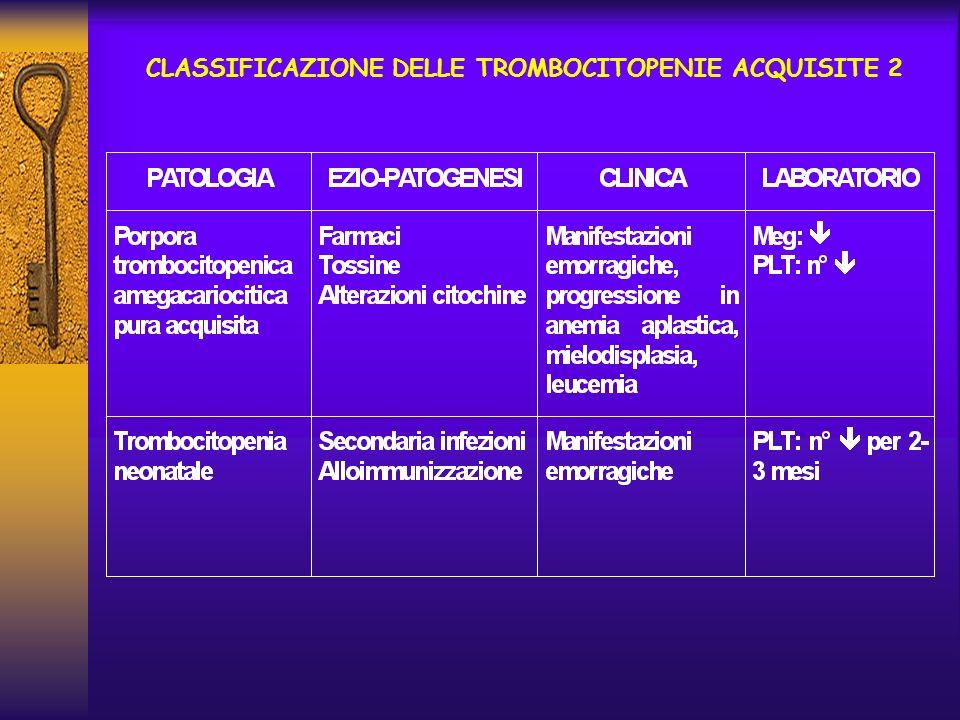 CLASSIFICAZIONE DELLE TROMBOCITOPENIE ACQUISITE 2