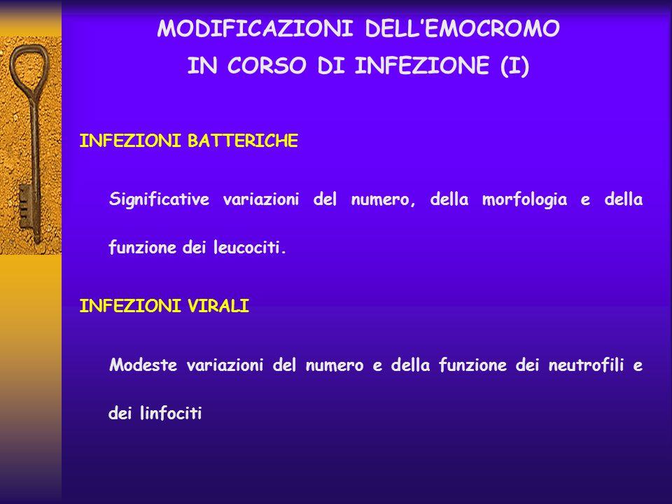 MODIFICAZIONI DELLEMOCROMO IN CORSO DI INFEZIONE (I) INFEZIONI BATTERICHE Significative variazioni del numero, della morfologia e della funzione dei l