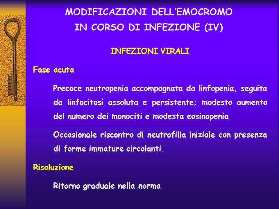MODIFICAZIONI DELLEMOCROMO IN CORSO DI INFEZIONE (IV) INFEZIONI VIRALI Fase acuta Precoce neutropenia accompagnata da linfopenia, seguita da linfocito