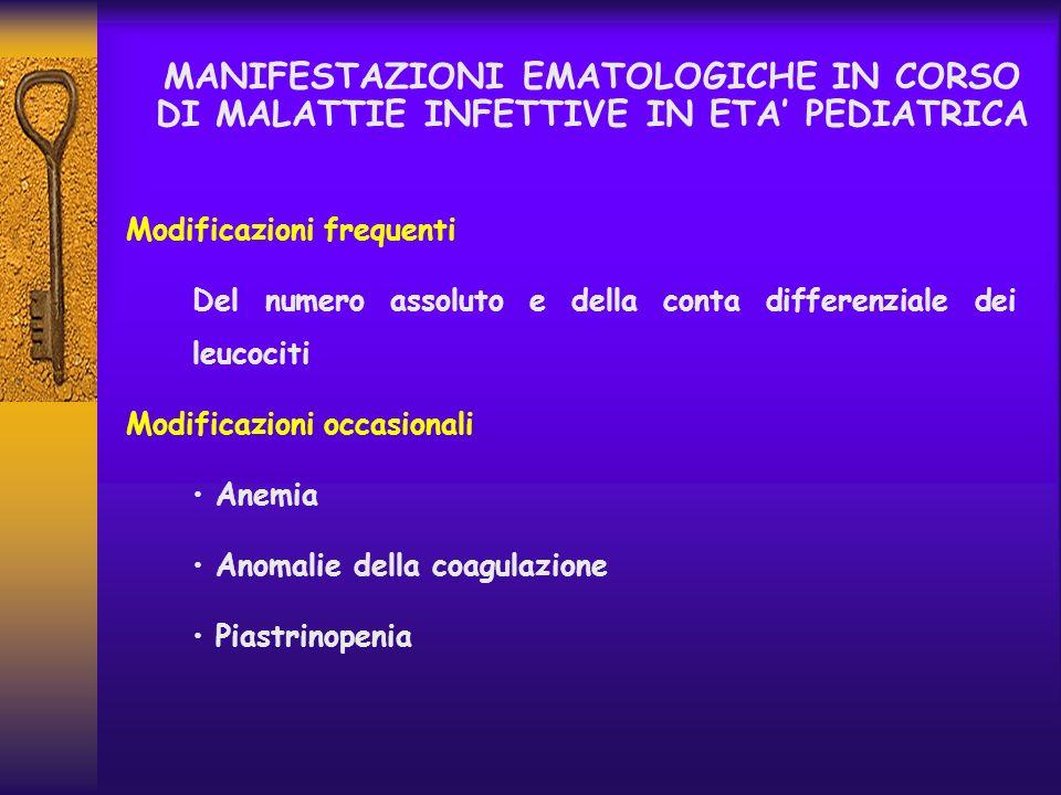 MANIFESTAZIONI EMATOLOGICHE IN CORSO DI MALATTIE INFETTIVE IN ETA PEDIATRICA Modificazioni frequenti Del numero assoluto e della conta differenziale d