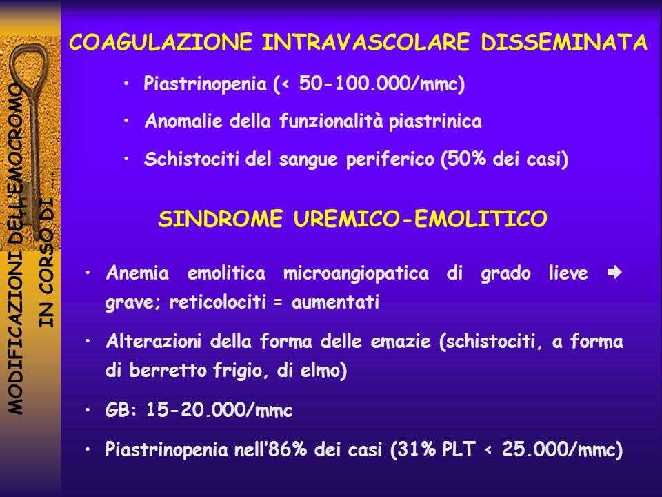 MODIFICAZIONI DELLEMOCROMO IN CORSO DI …. COAGULAZIONE INTRAVASCOLARE DISSEMINATA Piastrinopenia (< 50-100.000/mmc) Anomalie della funzionalità piastr