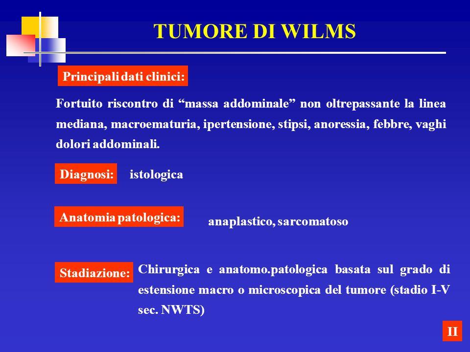 TUMORE DI WILMS II Fortuito riscontro di massa addominale non oltrepassante la linea mediana, macroematuria, ipertensione, stipsi, anoressia, febbre,