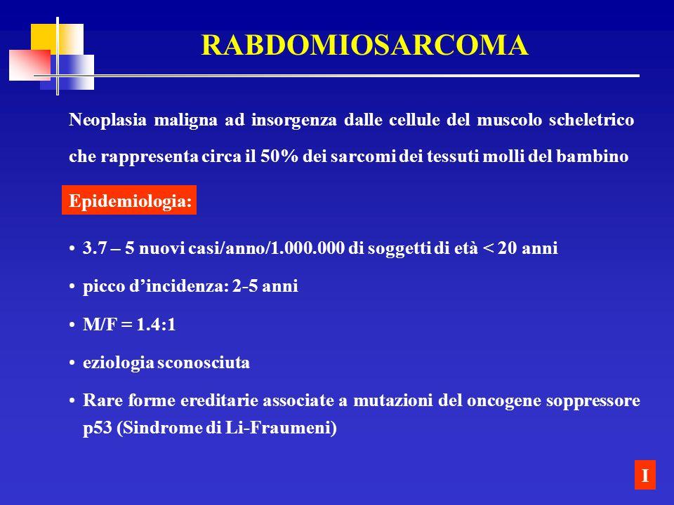 RABDOMIOSARCOMA Neoplasia maligna ad insorgenza dalle cellule del muscolo scheletrico che rappresenta circa il 50% dei sarcomi dei tessuti molli del b