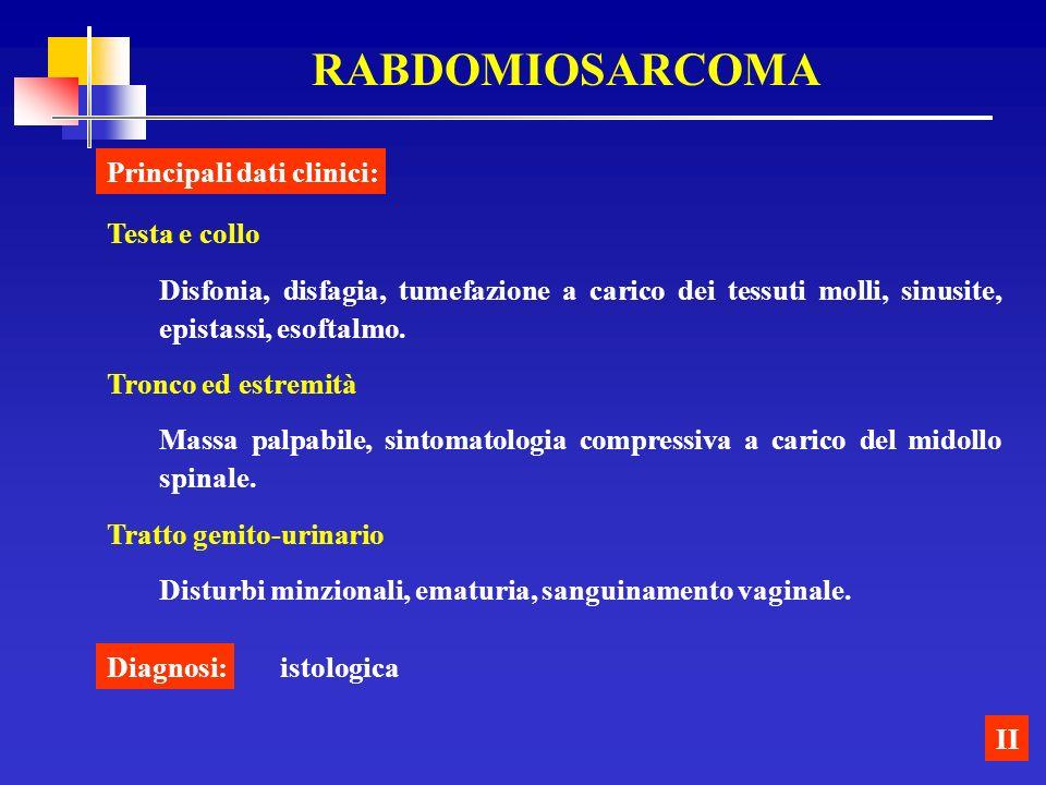 RABDOMIOSARCOMA II Testa e collo Disfonia, disfagia, tumefazione a carico dei tessuti molli, sinusite, epistassi, esoftalmo. Tronco ed estremità Massa
