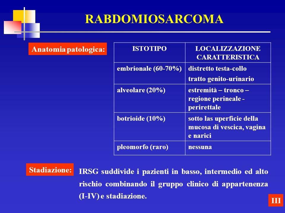 RABDOMIOSARCOMA III Stadiazione: IRSG suddivide i pazienti in basso, intermedio ed alto rischio combinando il gruppo clinico di appartenenza (I-IV) e