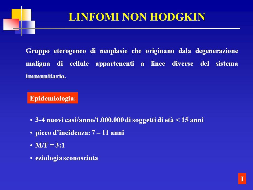 LINFOMI NON HODGKIN Gruppo eterogeneo di neoplasie che originano dala degenerazione maligna di cellule appartenenti a linee diverse del sistema immuni