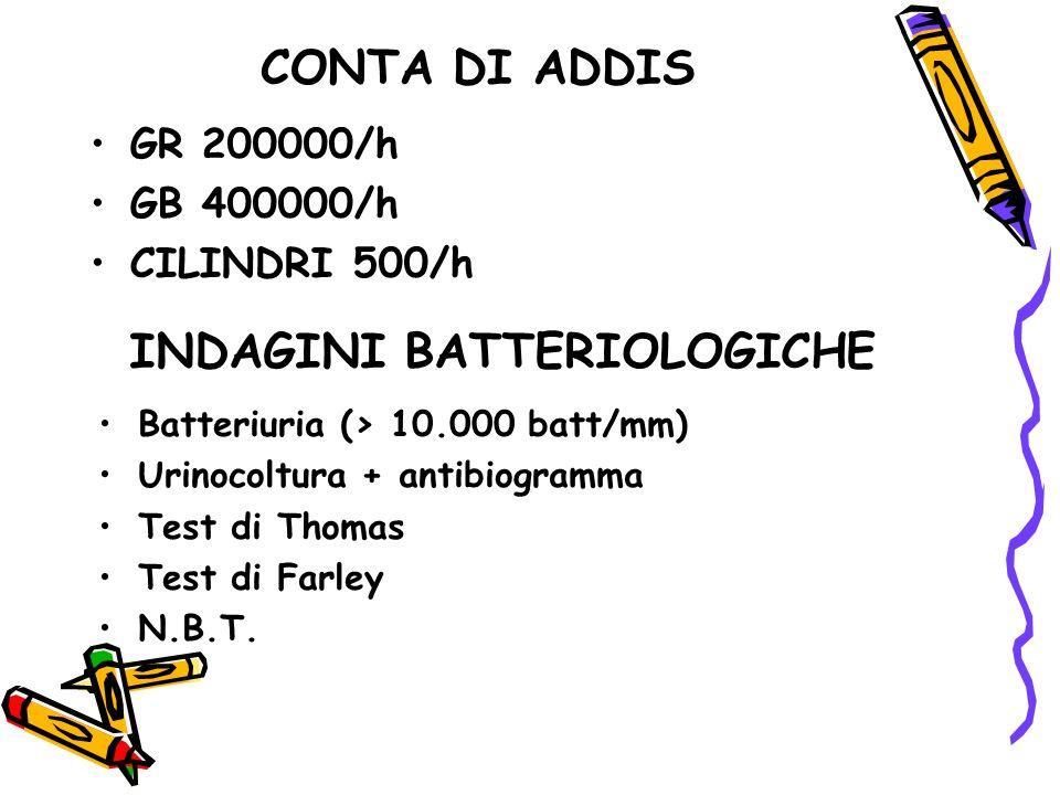 CONTA DI ADDIS GR 200000/h GB 400000/h CILINDRI 500/h INDAGINI BATTERIOLOGICHE Batteriuria (> 10.000 batt/mm) Urinocoltura + antibiogramma Test di Tho