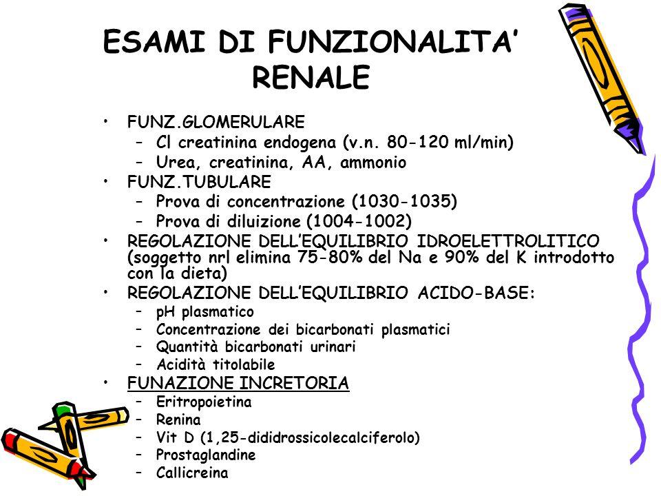 ESAMI DI FUNZIONALITA RENALE FUNZ.GLOMERULARE –Cl creatinina endogena (v.n. 80-120 ml/min) –Urea, creatinina, AA, ammonio FUNZ.TUBULARE –Prova di conc
