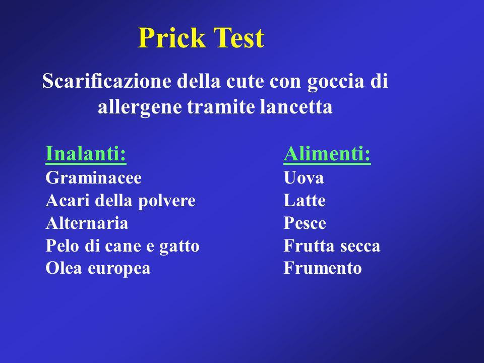 Prick Test Scarificazione della cute con goccia di allergene tramite lancetta Inalanti: Graminacee Acari della polvere Alternaria Pelo di cane e gatto