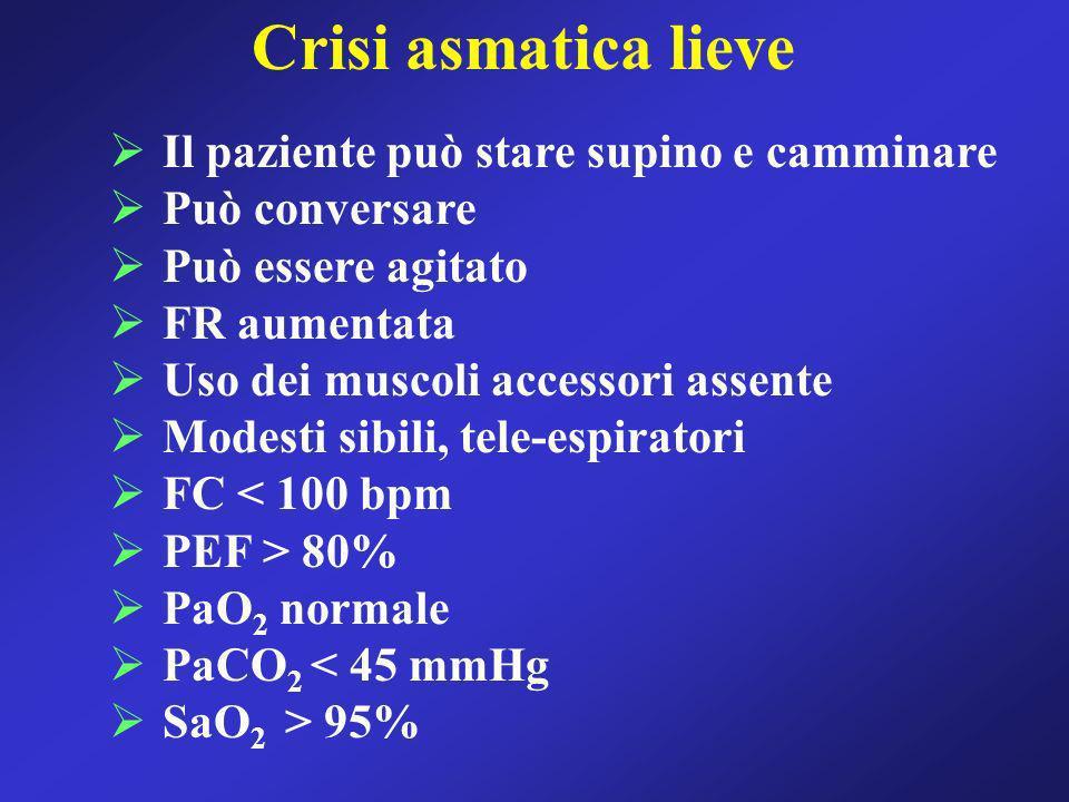 Crisi asmatica lieve Il paziente può stare supino e camminare Può conversare Può essere agitato FR aumentata Uso dei muscoli accessori assente Modesti